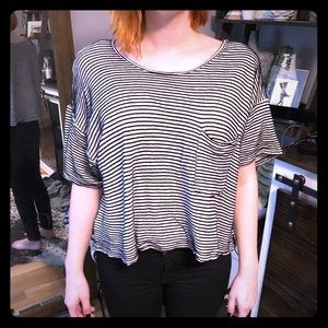 Oversized and textured striped crop top.